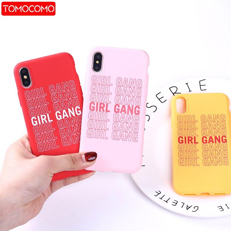 Chicas feministas Gang mujer moda suave silicona color brillante y Mate funda Coque Fundas para iPhone 11 Pro 6 6S 8 8Plus X 7 7Plus XS Max