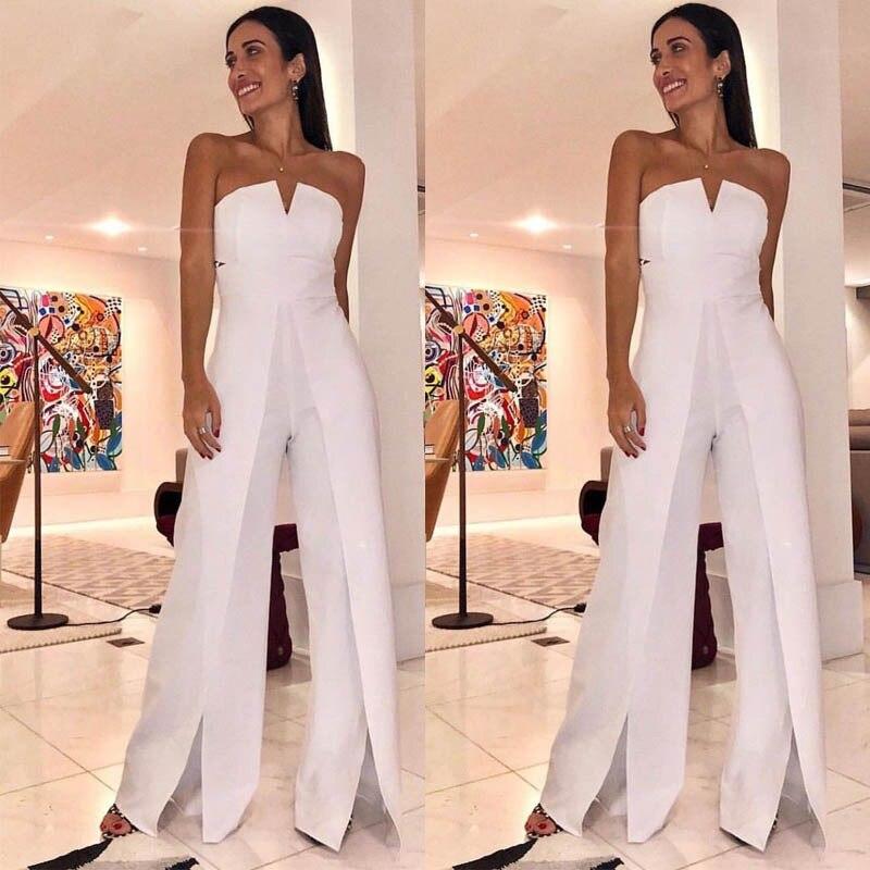 bcec04f5e470 2019 nuevos Pantalones rectos sin tirantes Mujer mono elegante Sexy blanco  mono pantalones para ...