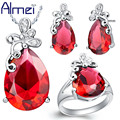 Almei Silver Butterfly Red/Purple Crystal Jewelry Set Wedding Woman Accessories conjuntos de colar anel anel de casamento T074
