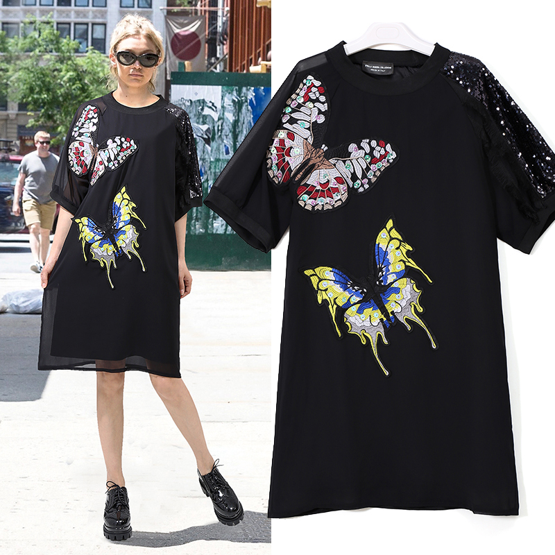 New 2018 European Fashion Women Black Straight Dress Half Sleeve With Sequins Larger Butterfly Embroidery Girls Cute Dress 3391