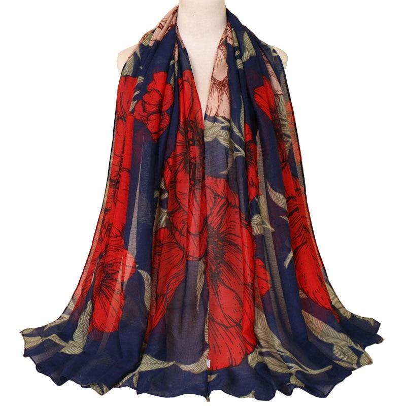 Ladies printe peony floral   scarves   shawls muslim hijab flower scarfs   wraps   fashion headband viscose   scarves   180*85cm 10pcs/lot