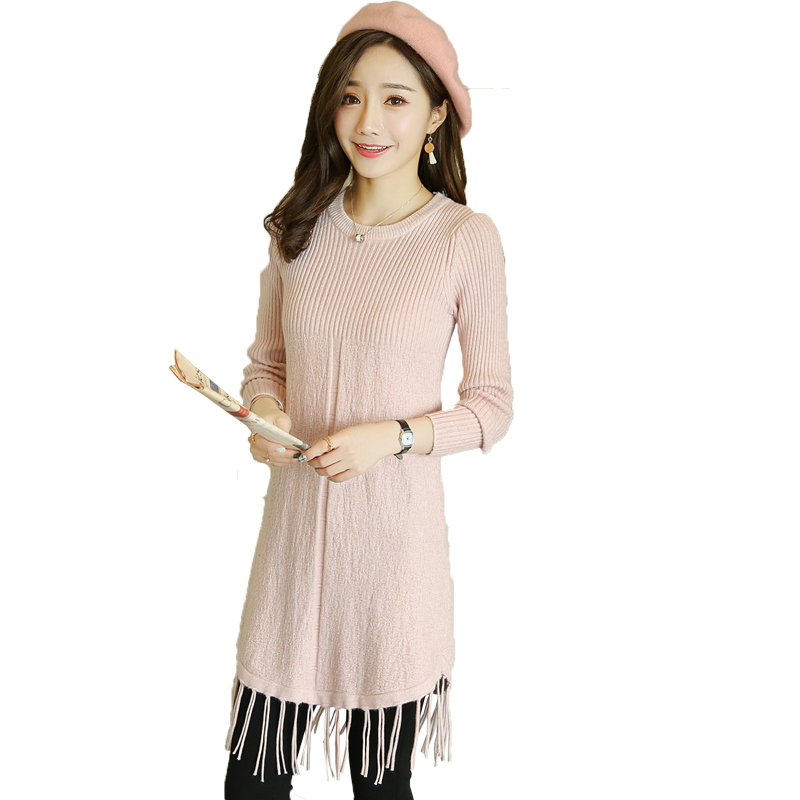 d7de18f3440a1 Knitting Autumn Pregnancy Sweater Breastfeeding Maternity Dresses Pink Maternity  Blouse Tassel Pregnant Women Nursing Dress C465-in Pullovers from Mother ...