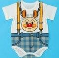 Free Shiping 8pcs/lot Fashion Anpanman Baby Romper Short Sleeve Infant Bodysuits False Trousers with Braces Toddler Jumpsuit