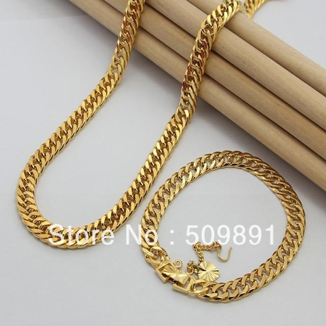 Se692 Fashion 24 Carat Gold Colou Chains Jewelry Sets Design For Men 7 5mm Chain Necklaces