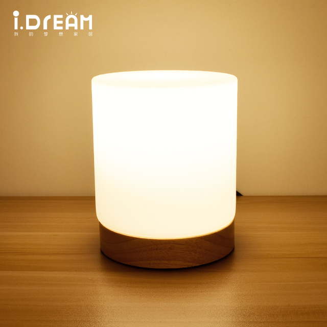 table lamp wood desk lamp bedroom holiday lighting Glass lampshade ...