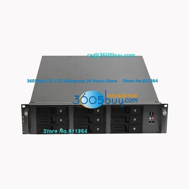 New For ATX board 9 pcs Hot swap USB3.0 2U server chassis supports 2U power supply 2u hot plug in chassis 2u 9 disk hot swap server sata sas hd storage cabinet