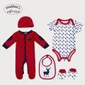 Elección de la madre Navidad Establece 5 unids Conjunto de Bebé Rampers manga larga y corta, babero, gorrita tejida, y Botines