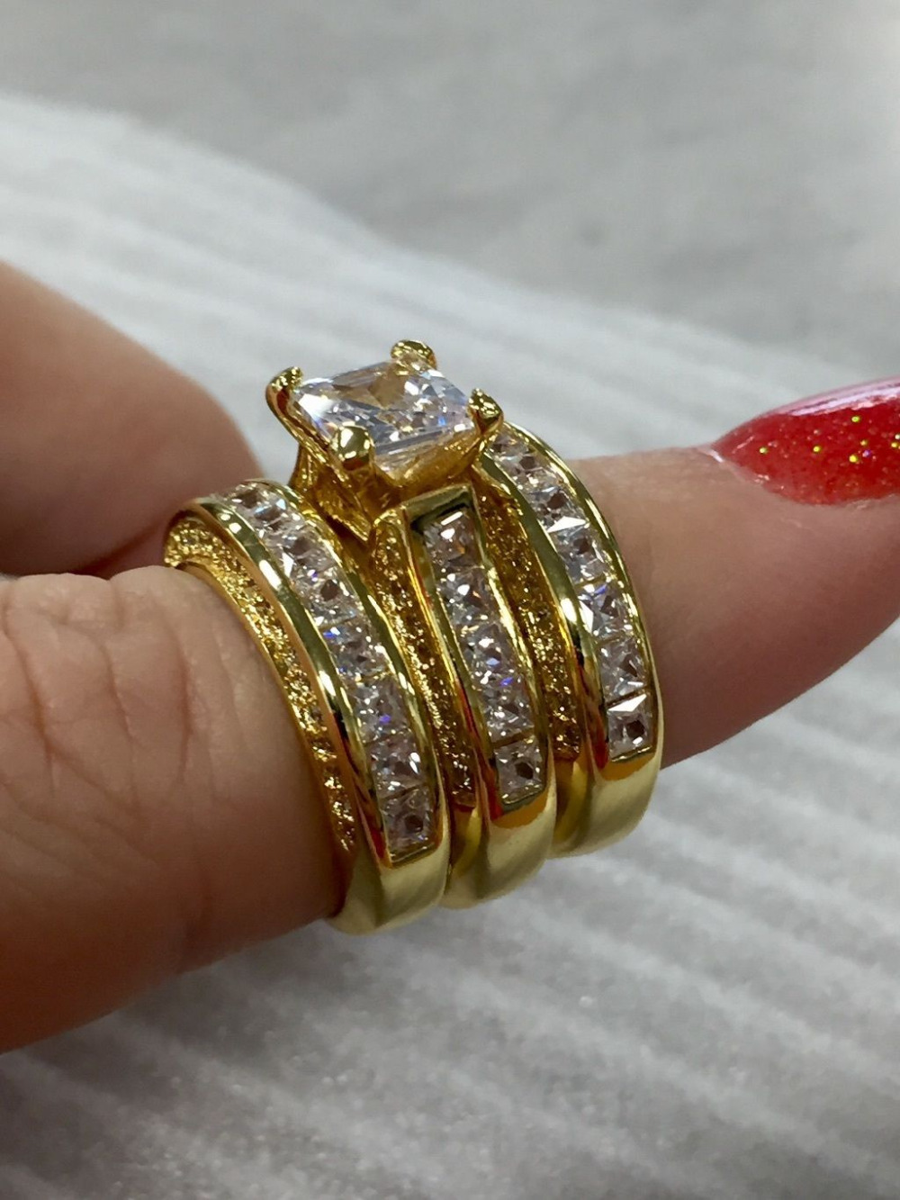 Women Jewelry Yellow CZ Zircon Gold Filled Wedding Engagement Band Finger Ring