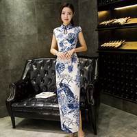 Summer Long Cheongsam Silk Chinese Dress Qipao Modern Oriental Style Dresses Qi Pao Wedding Gown Tangzhuang