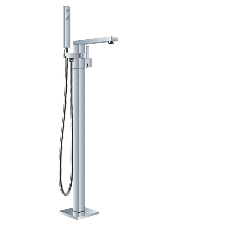 Bathtub Faucet Brass Bathtub Mixer Tap With Handheld Shower Floor Standing Style Black Chrome Bathroom Bath Shower Faucet Set in Bathtub Faucets from Home Improvement