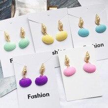 2019 Bohemia Beach Shell Earrings for Women European Statement Gold Drop Conch Earring Girl Wedding Party Fashion Korean Jewelry цена