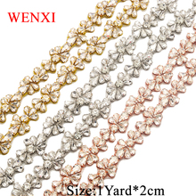 WENXI 1YARD Handmade Rose Gold Crystal Rhinestone Applique Trim Sewing On For Wedding Dress Belt DIY Bridal Sash WX808