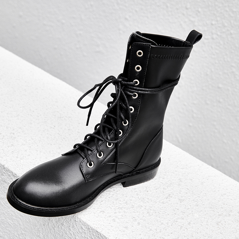 Vangull Women Boots 2019 Fashion Shoes Woman Genuine Leather cow leatherLow heel straps with Martin boots, knight boots, boots