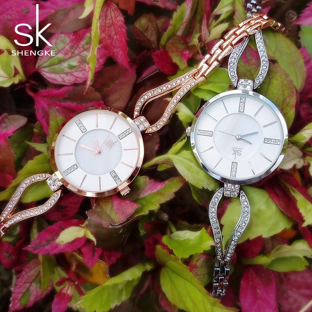 Shengke fashion women watch with diamond gold watch ladies t