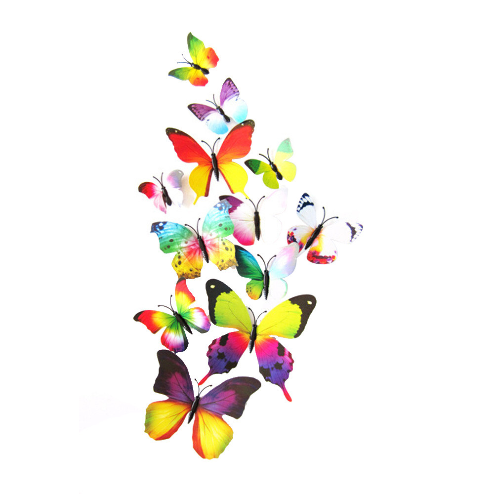 2017 Hot Sale 12pcs PVC Decal Wall Stickers Home Decorations 3D Butterfly Rainbow Adesivo de parede D38JL24