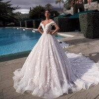 Liyuke Элегантный свадебное платье с открытыми плечами с 3D цветами линии роскошное свадебное платье с бисером
