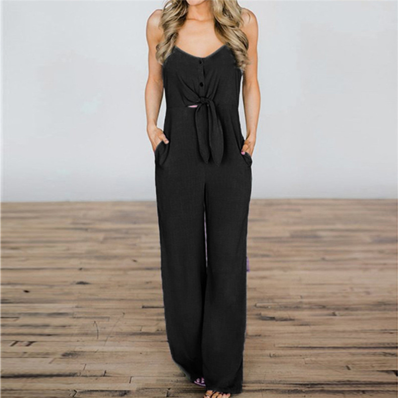 2018 Women Rompers Sexy Party Beach Jumpsuits Summer Sleeveless Solid Long Bodysuit Casual feminino Playsuit Whloesale #FJ15 (9)
