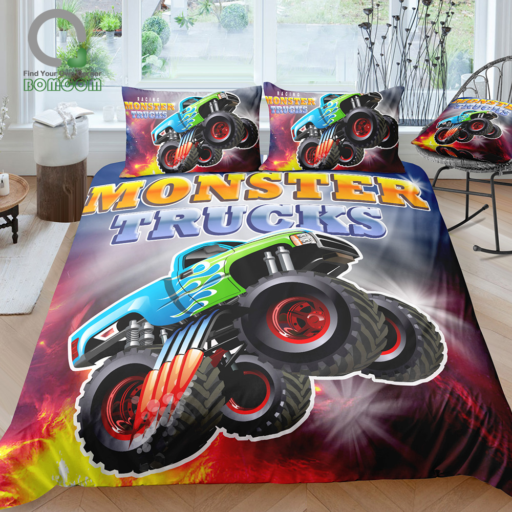 BOMCOM 3D Digital Printing Kids Bedding Set Monster Trucks Duvet Cover Sets 100 Microfiber