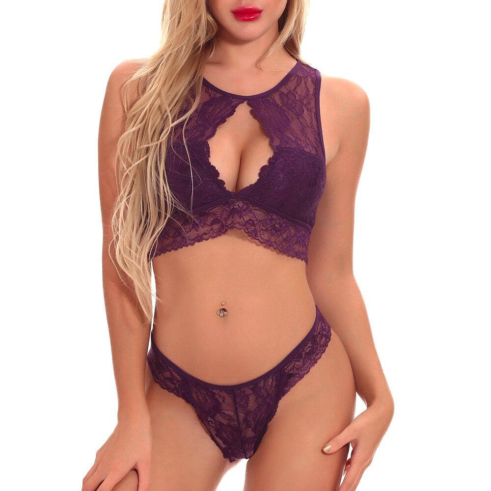 Damen-dessous Bh & Slip Sets Shaonvmeiwu Frauen Sexy Spitze Dessous Bh Set Bh Dünne Weiche Rippen Fleece Futter