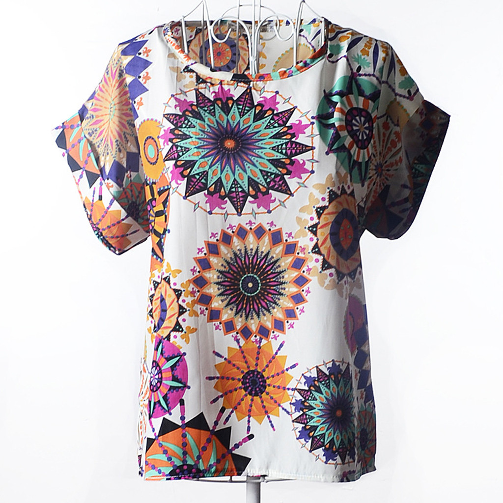 Women Short Sleeve O-Neck Casual Retro Psychedelic Print  Chiffon Shirt   2020 New Drop Shipping