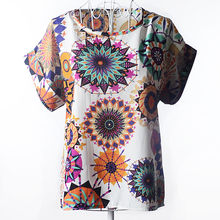 Women Short Sleeve O-Neck Casual Retro Psychedelic Print Chiffon Shirt 2019 New Drop Shipping(China)
