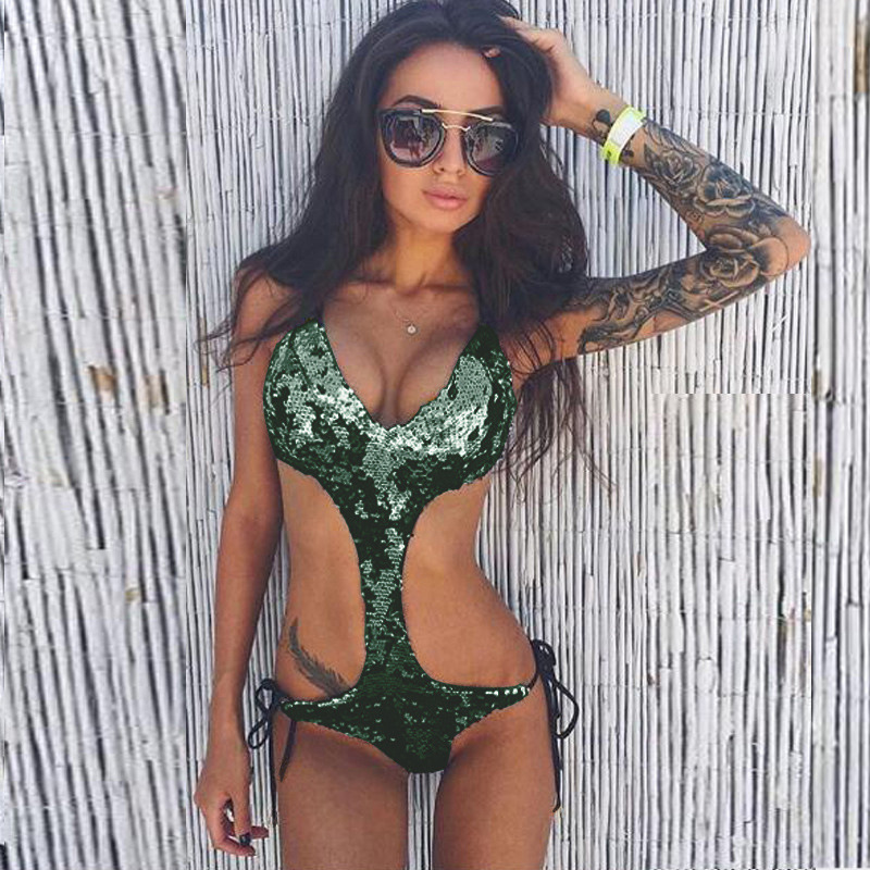 2018 Fashionable Shining One Piece Swimsuits Bandage Monokini Bodycon Change Color Sequined Bathing Suit Summer Beach Bikinis in Body Suits from Sports Entertainment