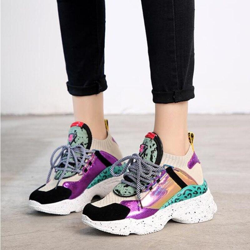 2019 nouvelles baskets femmes talons compensés plate-forme blanc baskets chaussures de crin chaussures décontracté appartements respirant doux femme Chunky chaussures