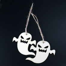 10 PCs Snicker Ghost Wooden Pendant With Rope Halloween