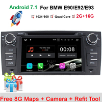 Quad Core 1024*600 Touchscreen Autoradio für BMW E90 Android 7,1 DVD E91 Wifi 3G GPS Bluetooth Radio SD Canbus Freie kamera + DVR
