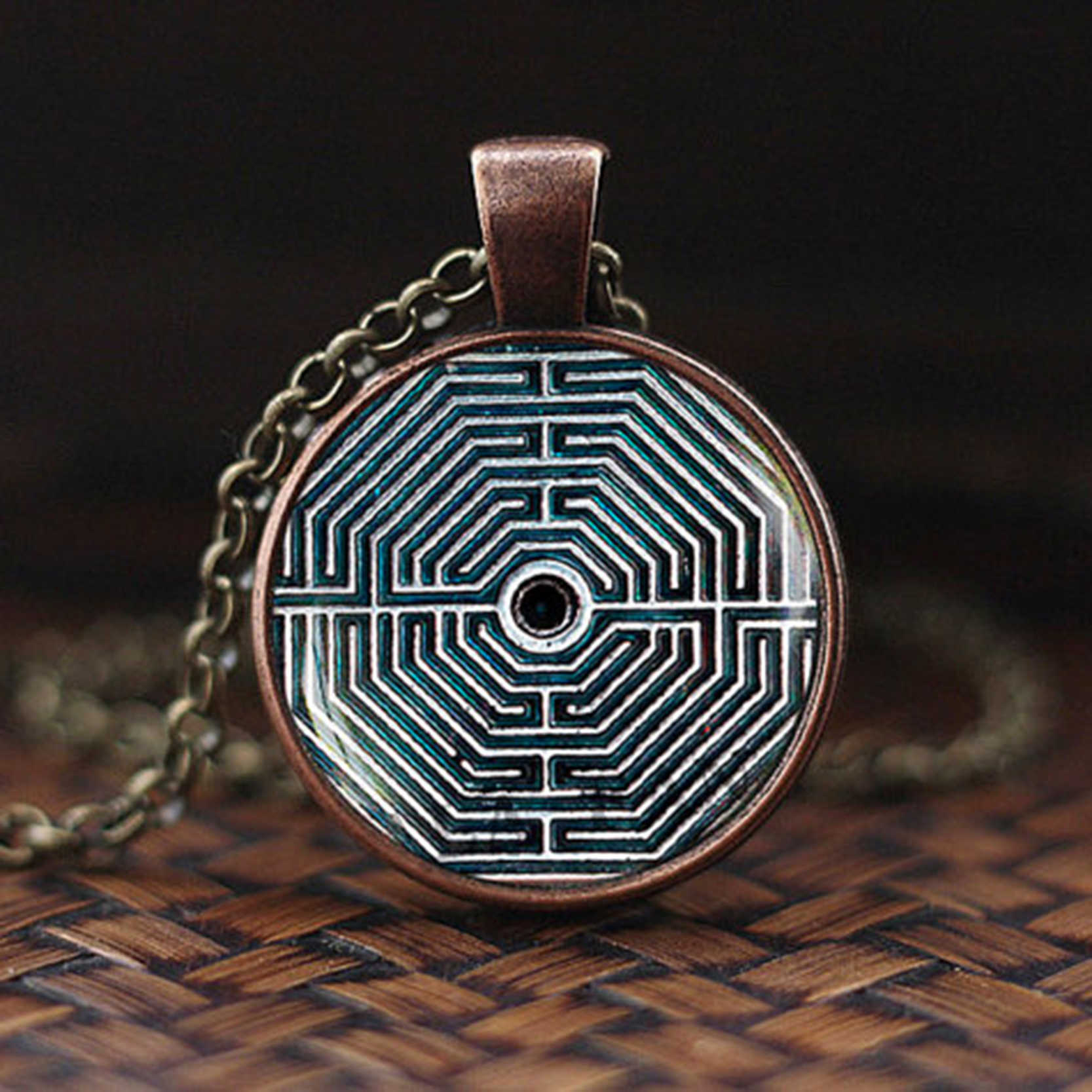 Mayan Calendar Pendant Jewelry Aztec Necklace Antique Bronze Chain Astronomy Archaeology For