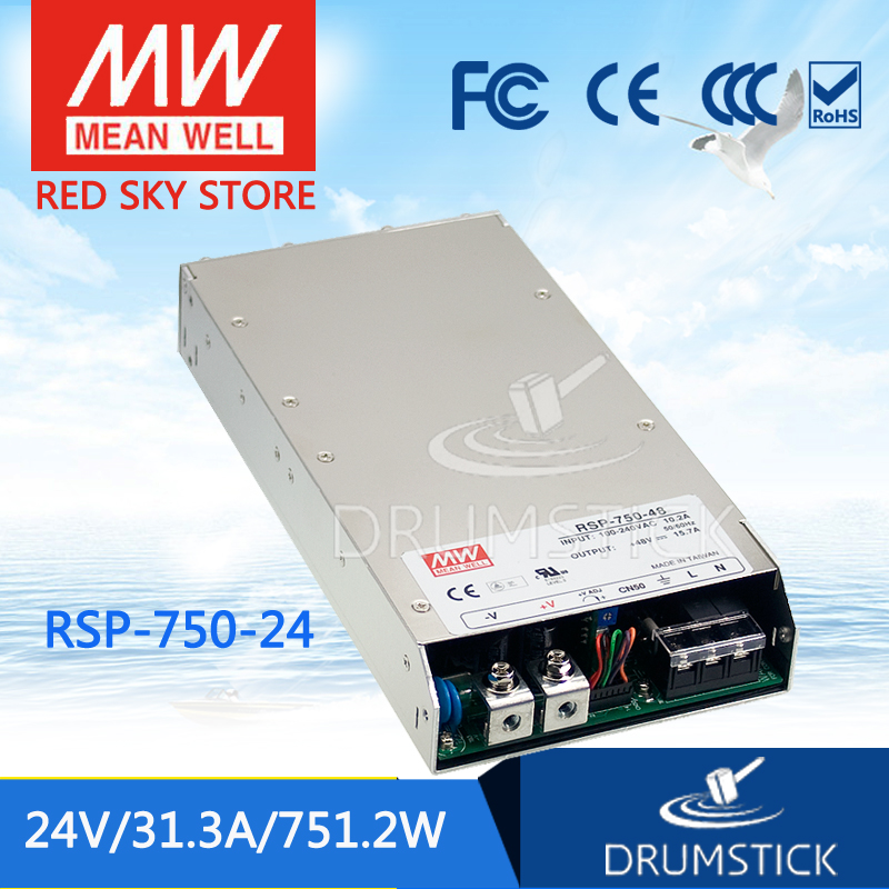 Genuine MEAN WELL RSP-750-24 24V 31.3A meanwell RSP-750 24V 751.2W Single Output Power Supply selling hot mean well rsp 1500 5 5v 240a meanwell rsp 1500 5v 1200w single output power supply