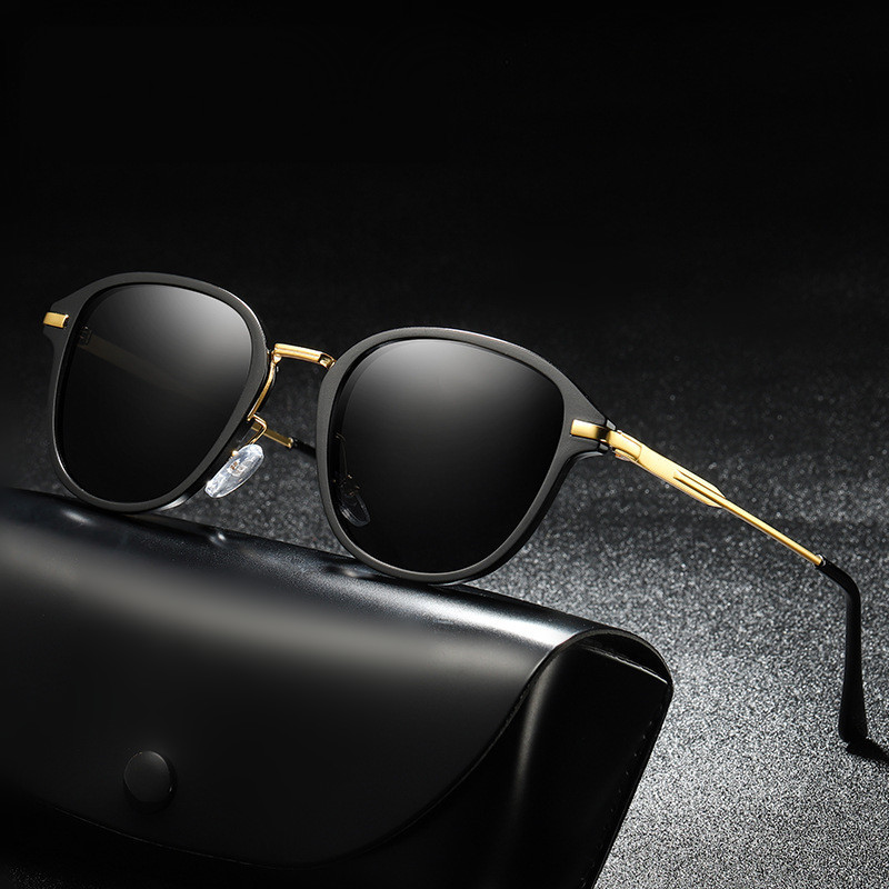 KUJUNY Women Polarized Sunglasses Men Metal Temple Sun Glasses Ladies Round Eyeglasses Mens Driving Driver Sunglass With Box