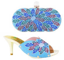 New arrival high quality italian font b shoes b font and bag set in sky blue