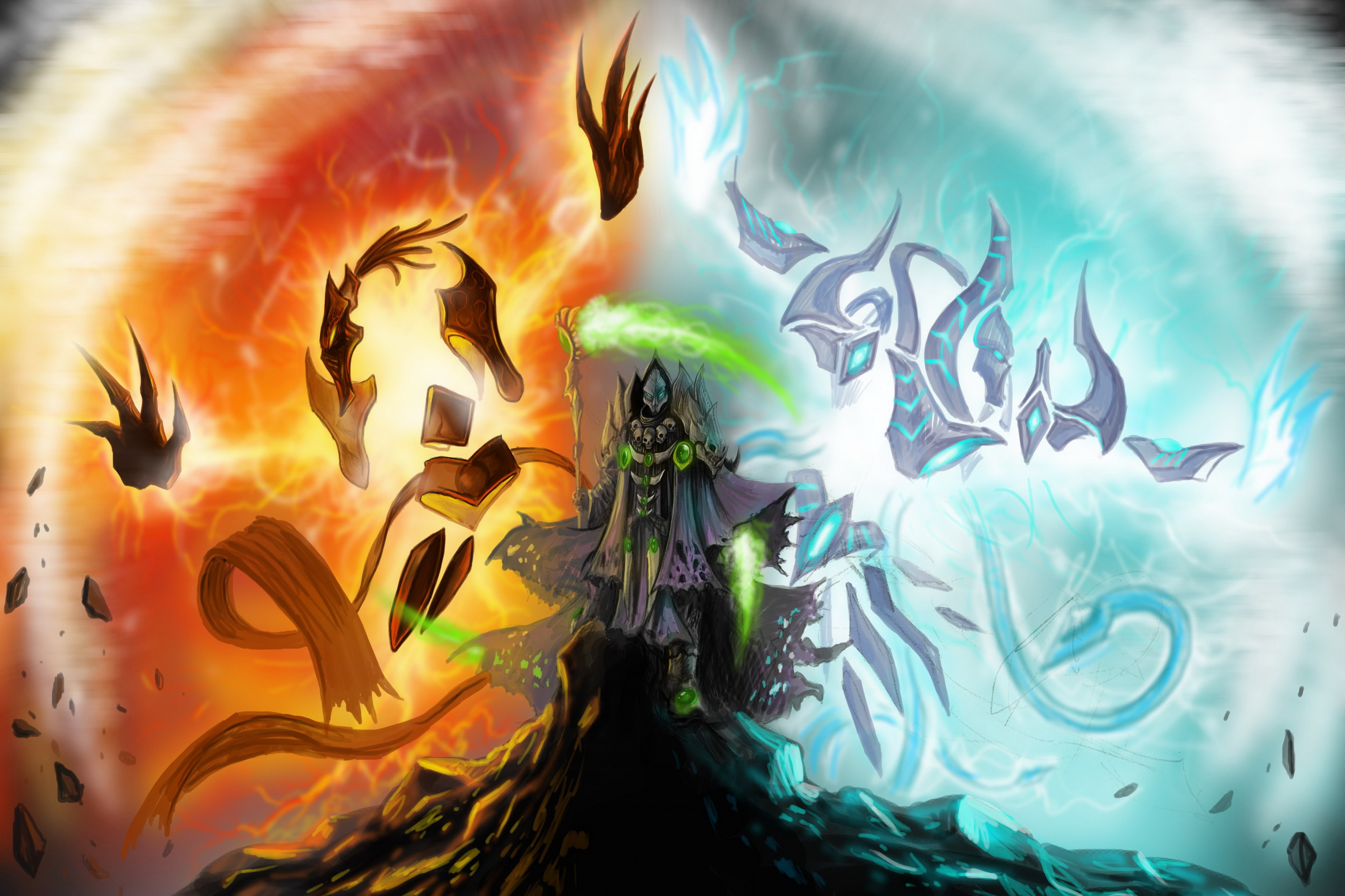 Home decoration fantasy art gown death hood spit fire ice cold Silk Fabric Poster Print DM388