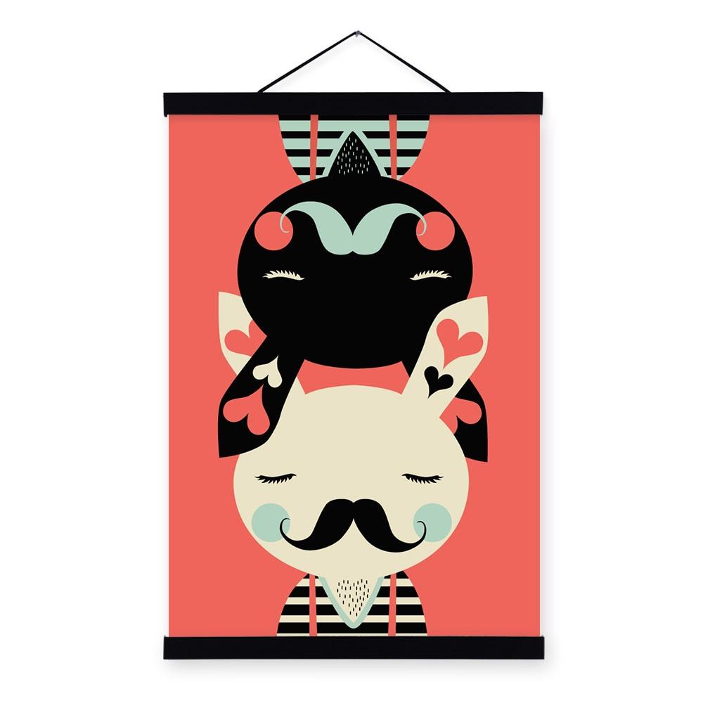 566 30 De Réduction3 Lapin Noir Blanc Rouge Moderne Abstrait A3 Affiche Imprime Dessin Animé Animal Image Hipster Toile Peinture Enfants Chambre