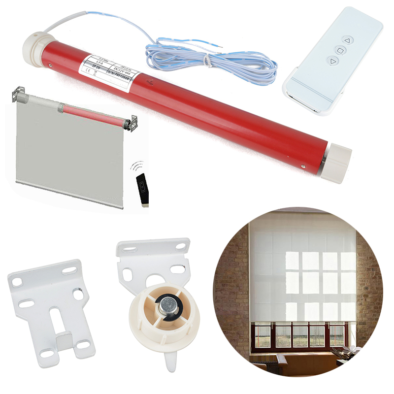 12V DIY Electric Roller Blind Shade Tubular Motor Kit with Remote Controller for Curtain Shade Roller Blinds Mayitr