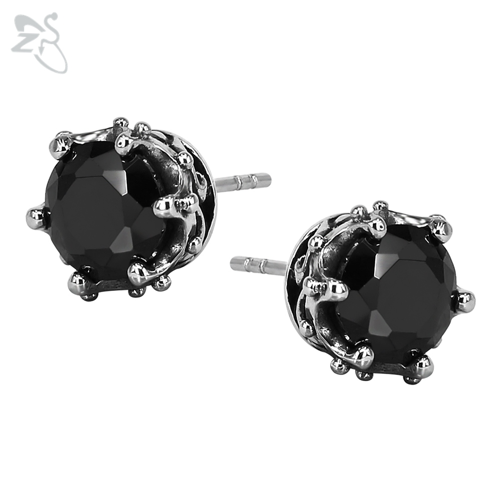 Black Ear Stud Earrings With Stone Round Brincos Crystal Stainless Steel Earing Helix Piercing Punk For Women Men Body Jewelry