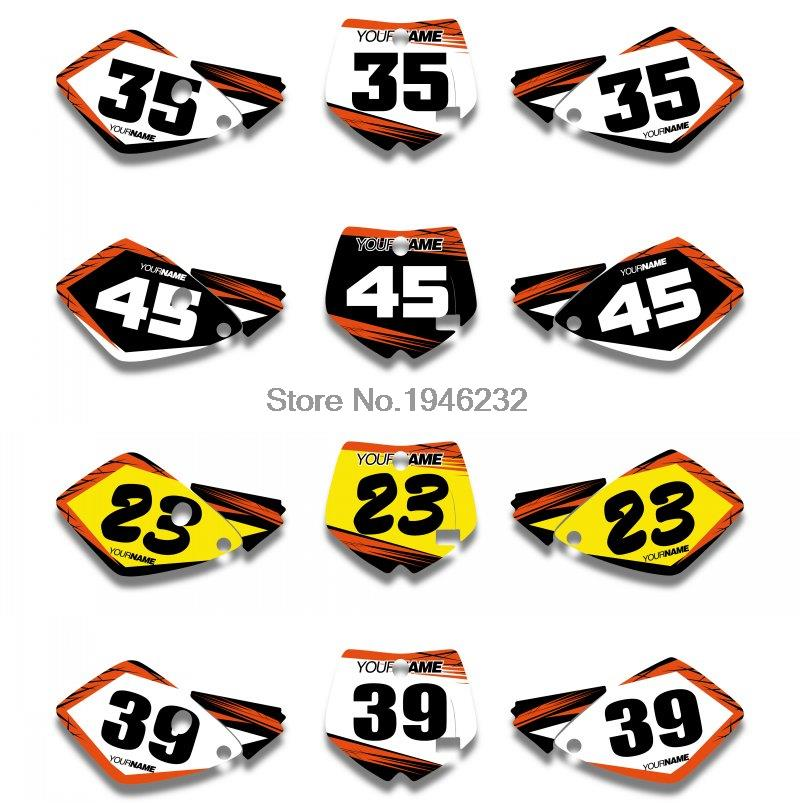 For KTM SX 65 2002 2003 2004 2005 2006 2007 2008 Custom Number Plate Backgrounds Graphics Sticker & Decals Kit 1pair canbus free led car license plate light number plate lamp for opel vectra c estate 2002 2003 2004 2005 2006 2007 2008