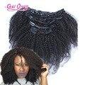 120g afroamericano kinky rizado clip en extensiones de cabello 7 unids/set clip brasileño de la virgen afro rizado rizado del pelo humano en el pelo