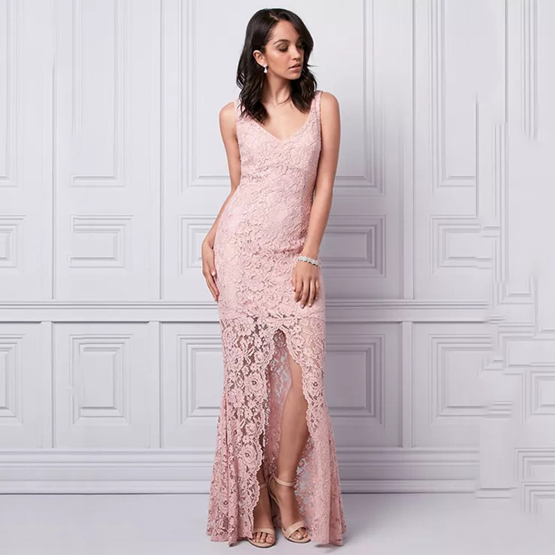 Wedding Boutique Mother of the Bride Dresses V neckline Sleeveless Front Slit Evening Dress V back ultra feminine lace Gowns in Mother of the Bride Dresses from Weddings Events
