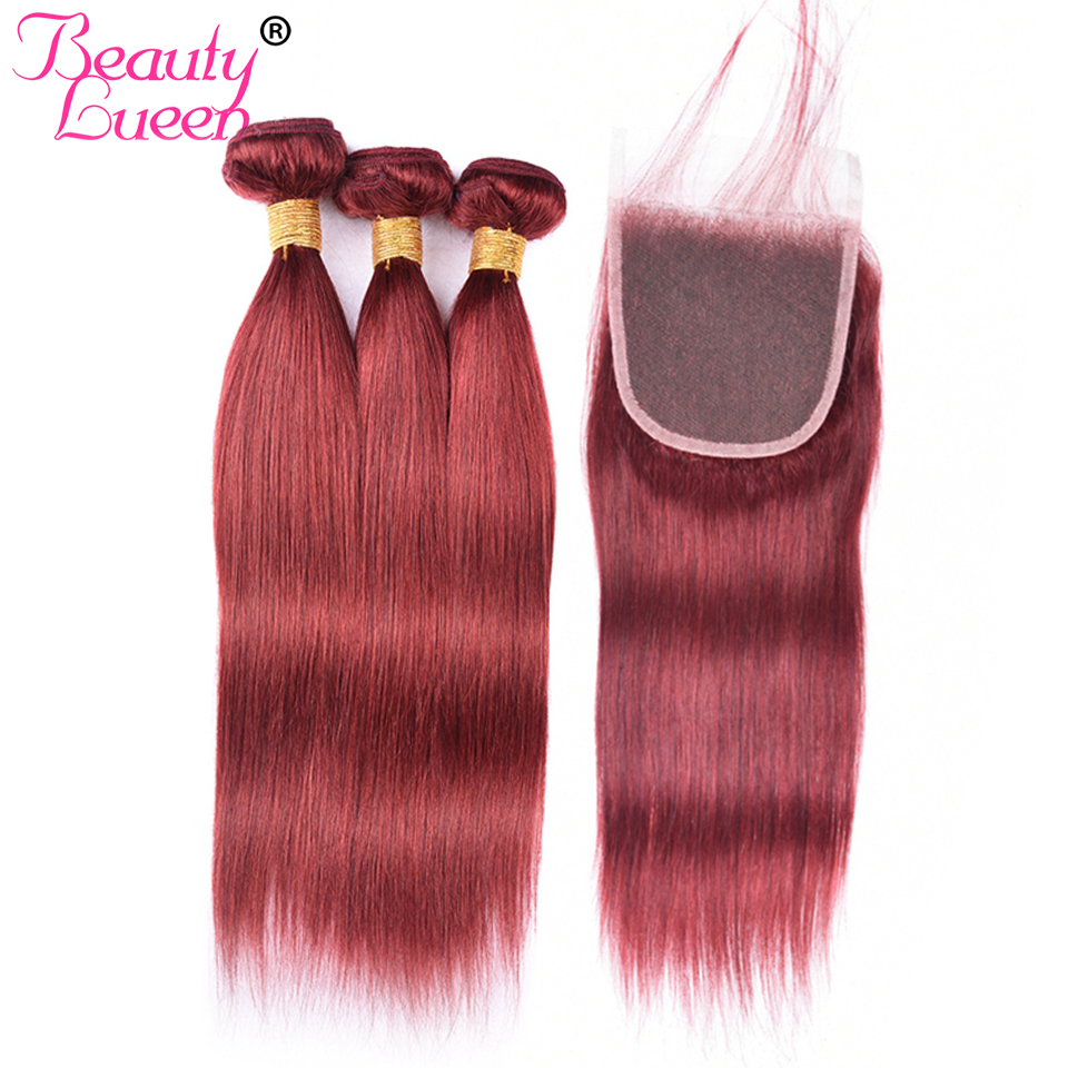 Beauty Lueen Pre Colored Red 33 Brazilian Straight Hair Weave Bundles With 4 4 Lace Closure
