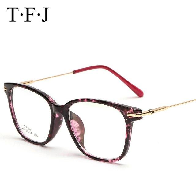 e94b5440b TFJ Vidros Ópticos Vintage frame Exclusive Marca Designer Mulheres óculos  armação de Metal Cristal Decoração Oculos