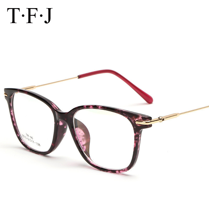 TFJ Vintage Optical Glasses frame Exklusivt märkesdesigner Kvinnors glasögonram Metal Crystal Decoration oculos De Grau