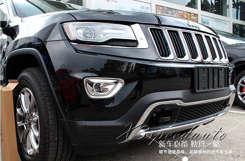 Free Shipping Chromed Front Fog font b Light b font Lamp Cover Trim For Jeep Grand
