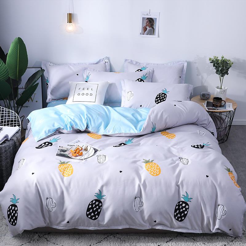 Warm Velvet Bedding Set 180x220cm Duvet Cover 4pcs set Pineapple Pattern Bed Linen Set Flat Sheet