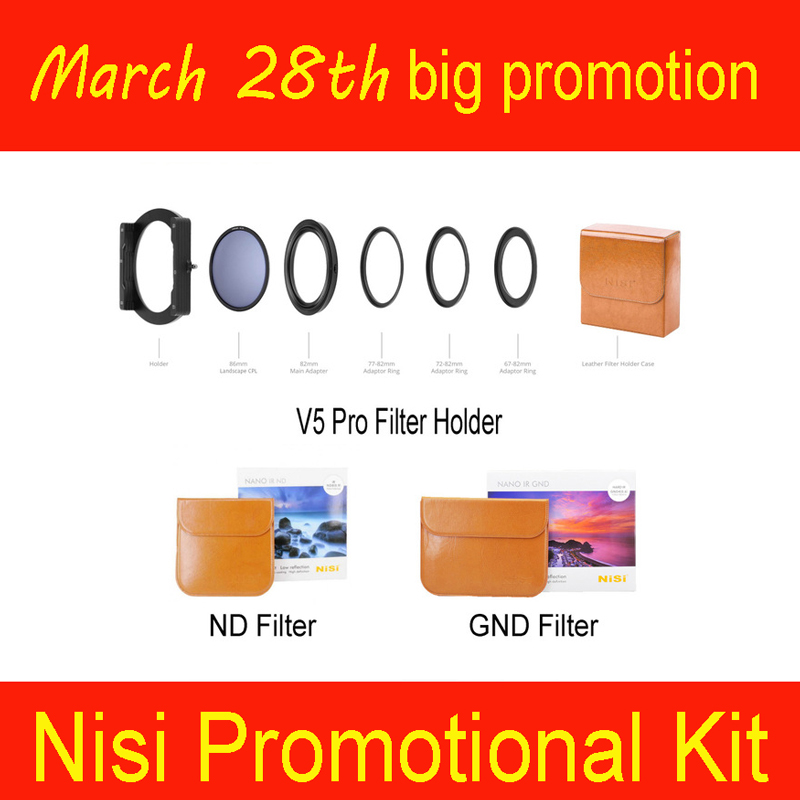 NiSi 100 millimetri V5 Pro filter holder + 100*150 millimetri GND Morbido o Duro GND o Invertire GND + 100*100 millimetri ND Filter Spedizione 3-Pack Kit