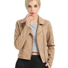 2017 Популярные Искусственного Оленьей Женщин Короткая Куртка Мода Осень Тонкий Ветрозащитный Vintage Замша Замша Куртка Для Дам
