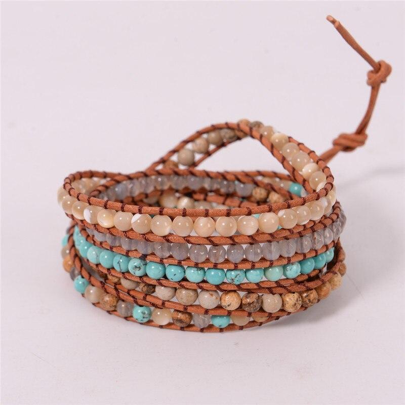 2018 Nouveau Bijoux 5 Brins Pierre Naturelle Perle À La Main En Cuir Bracelet Wrap Bracelet Travail Manuel Drop Shipping Cadeau