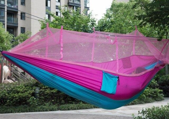 2 Pcs Duas Pessoas Parachute Nylon Tecido Hammock Mosquito Net Indoor Ao Ar Livre Caminhadas Mochila de Acampamento Portátil Rede Hangmat