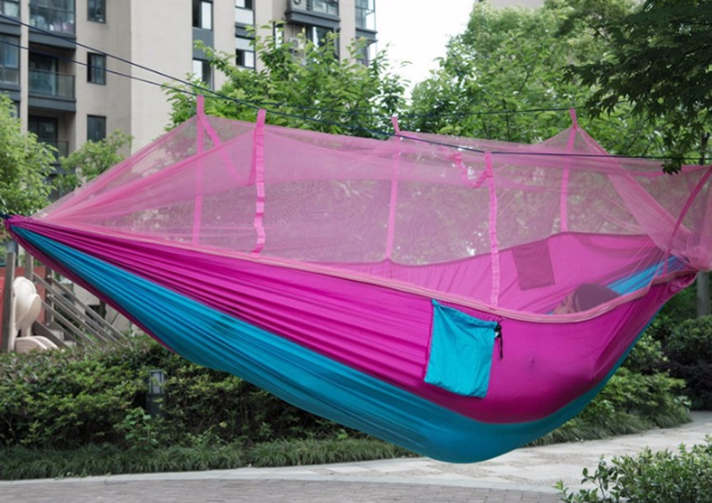 ФОТО 2Pcs Two People Parachute Nylon Fabric Hammock Mosquito Net Camping Hammock Portable Indoor Outdoor Hiking Backpacking Hangmat